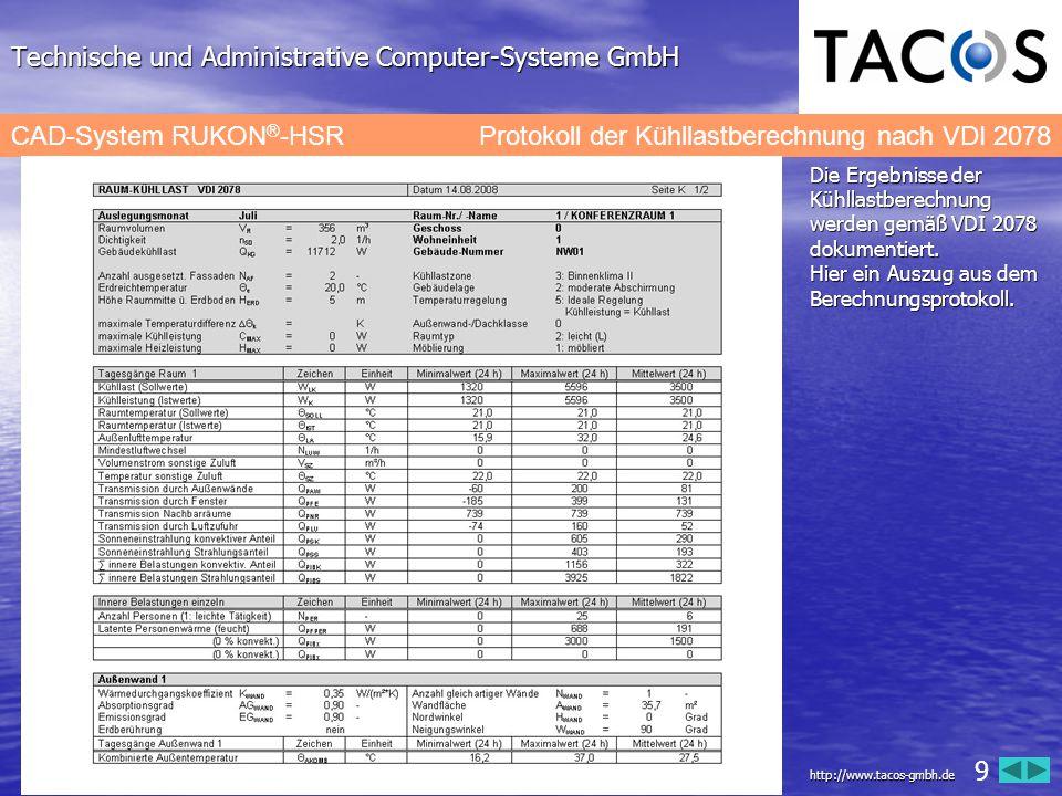 Technische und Administrative Computer-Systeme GmbH CAD-System RUKON ® -HSRProtokoll der Kühllastberechnung nach VDI 2078 Die Ergebnisse der Kühllastb