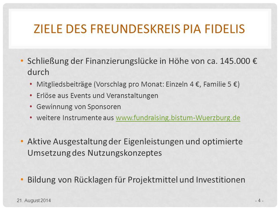 ZIELE DES FREUNDESKREIS PIA FIDELIS Schließung der Finanzierungslücke in Höhe von ca. 145.000 € durch Mitgliedsbeiträge (Vorschlag pro Monat: Einzeln