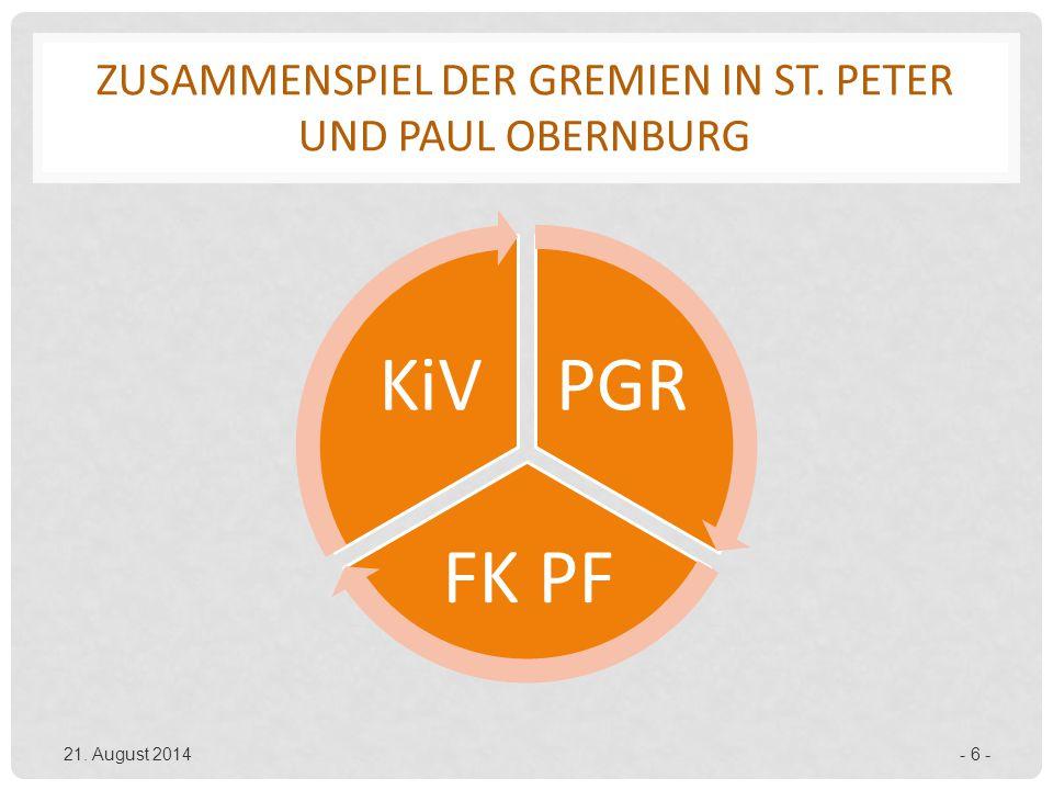 ZUSAMMENSPIEL DER GREMIEN IN ST. PETER UND PAUL OBERNBURG PGR FK PF KiV 21. August 2014- 6 -