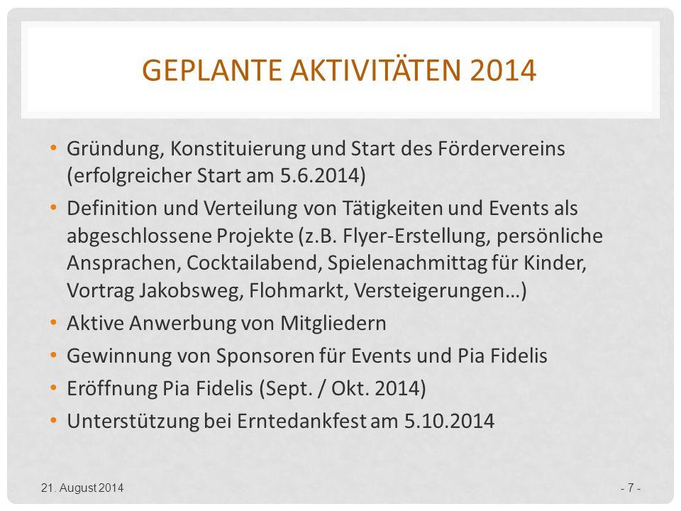 GEPLANTE AKTIVITÄTEN 2014 Gründung, Konstituierung und Start des Fördervereins (erfolgreicher Start am 5.6.2014) Definition und Verteilung von Tätigke