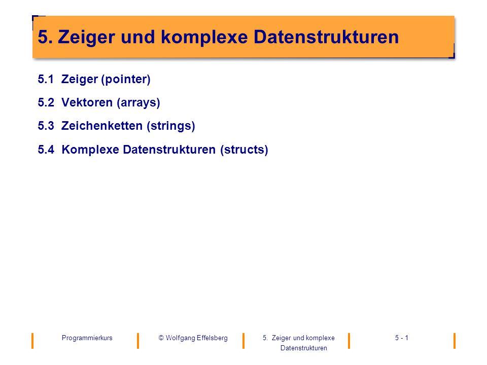 Programmierkurs5. Zeiger und komplexe Datenstrukturen 5 - 1© Wolfgang Effelsberg 5. Zeiger und komplexe Datenstrukturen 5.1 Zeiger (pointer) 5.2 Vekto