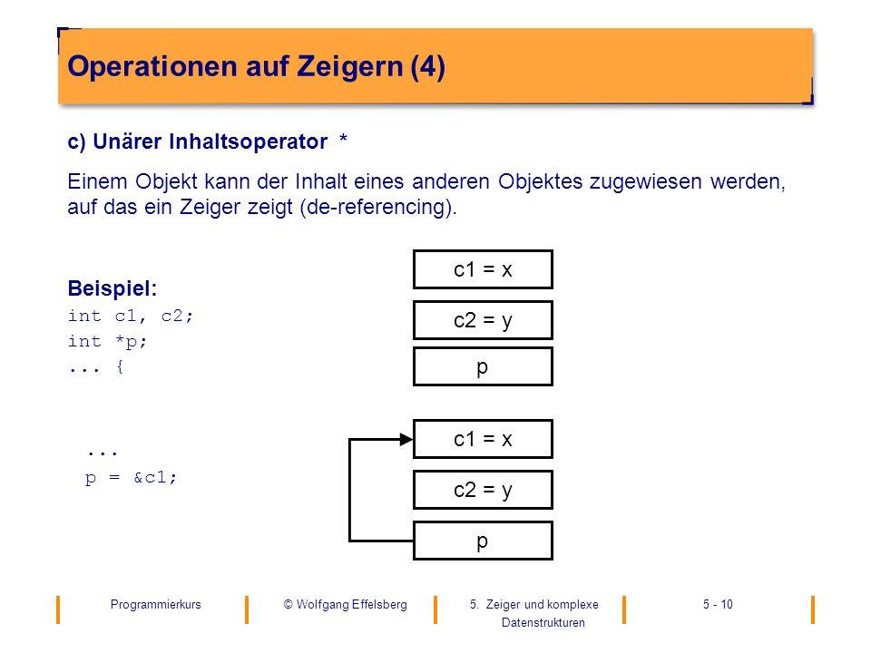 Programmierkurs5. Zeiger und komplexe Datenstrukturen 5 - 10© Wolfgang Effelsberg Operationen auf Zeigern (4) c) Unärer Inhaltsoperator * Einem Objekt