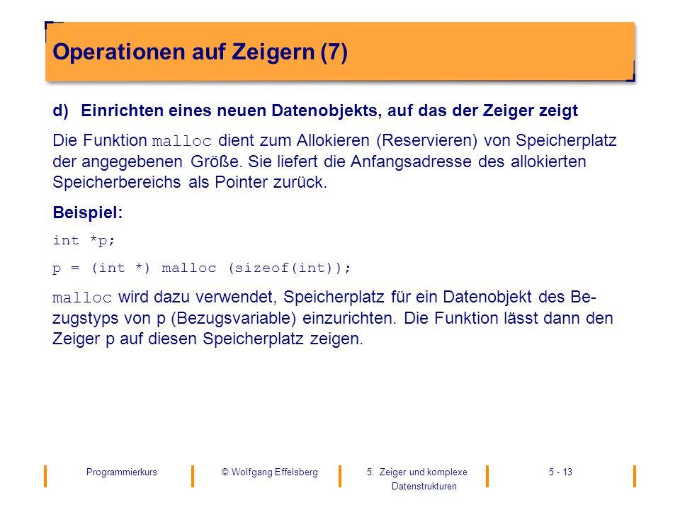 Programmierkurs5. Zeiger und komplexe Datenstrukturen 5 - 13© Wolfgang Effelsberg Operationen auf Zeigern (7) d)Einrichten eines neuen Datenobjekts, a