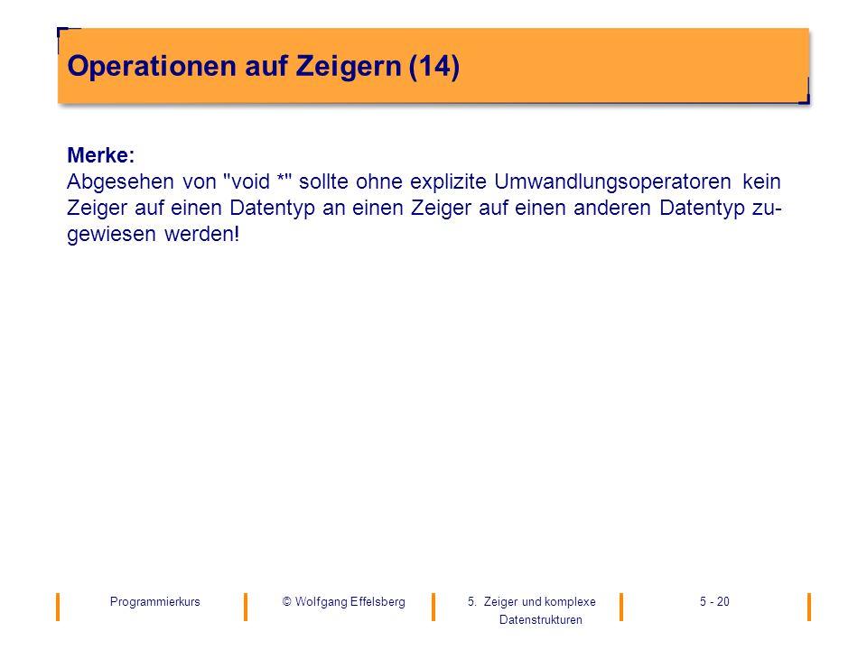 Programmierkurs5. Zeiger und komplexe Datenstrukturen 5 - 20© Wolfgang Effelsberg Operationen auf Zeigern (14) Merke: Abgesehen von