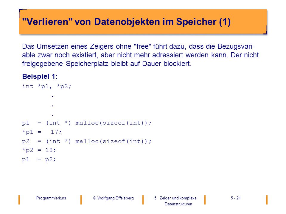 Programmierkurs5. Zeiger und komplexe Datenstrukturen 5 - 21© Wolfgang Effelsberg