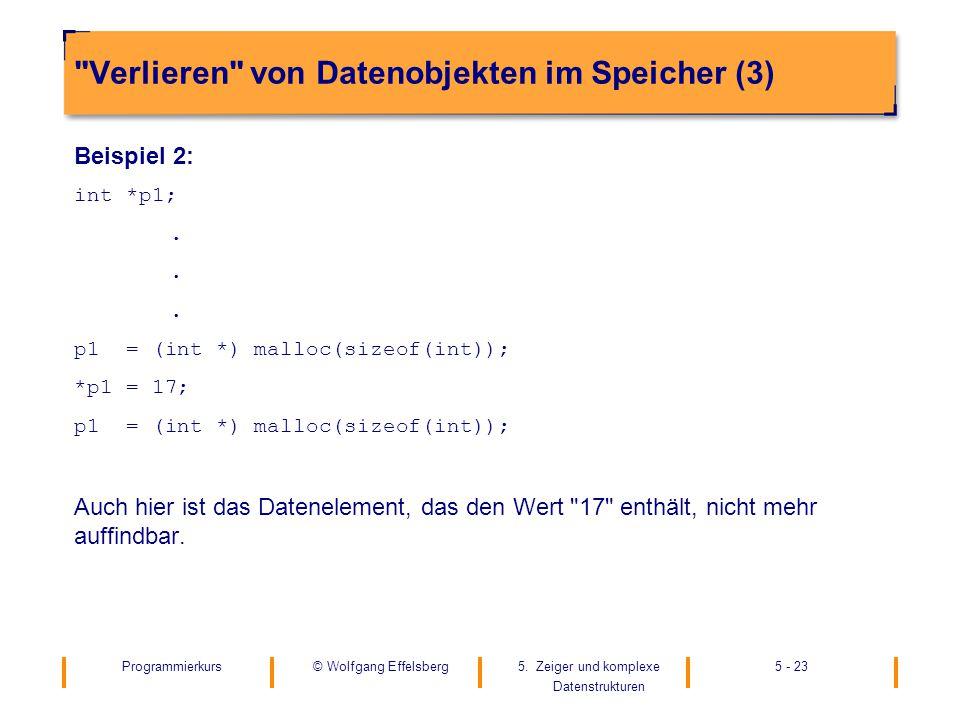 Programmierkurs5. Zeiger und komplexe Datenstrukturen 5 - 23© Wolfgang Effelsberg