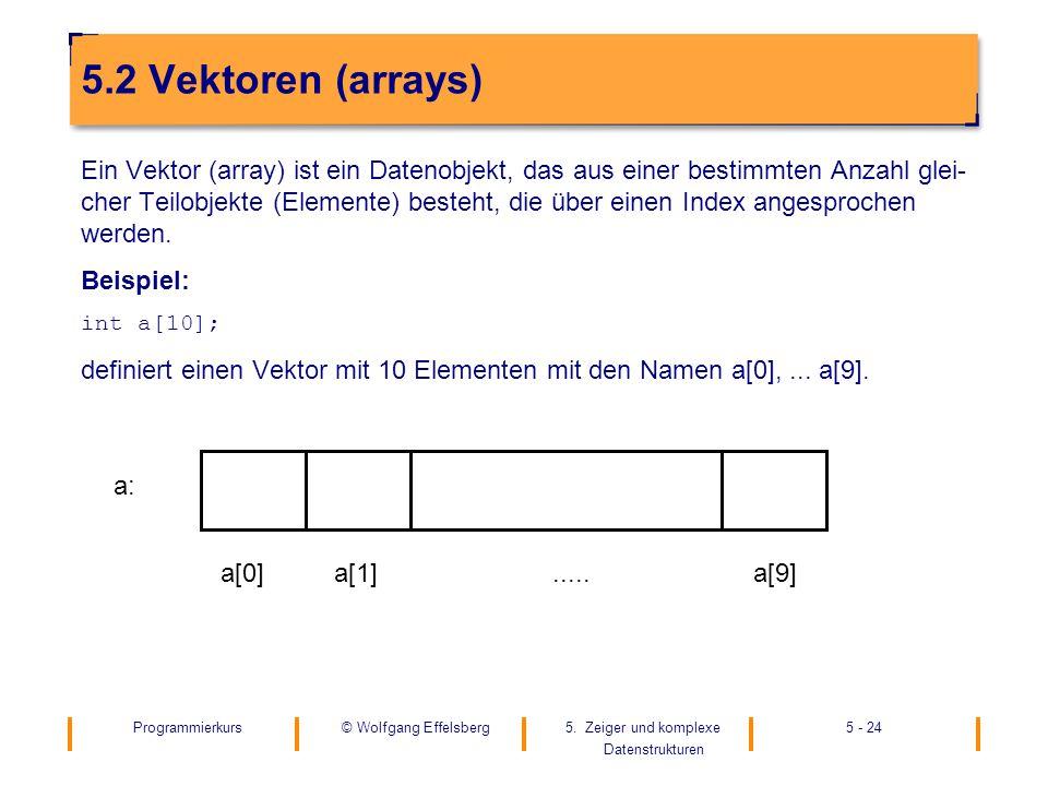 Programmierkurs5. Zeiger und komplexe Datenstrukturen 5 - 24© Wolfgang Effelsberg 5.2 Vektoren (arrays) Ein Vektor (array) ist ein Datenobjekt, das au