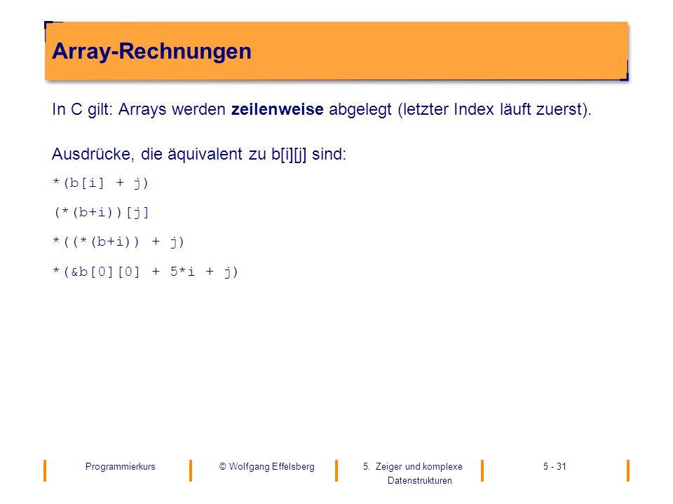 Programmierkurs5. Zeiger und komplexe Datenstrukturen 5 - 31© Wolfgang Effelsberg Array-Rechnungen In C gilt: Arrays werden zeilenweise abgelegt (letz