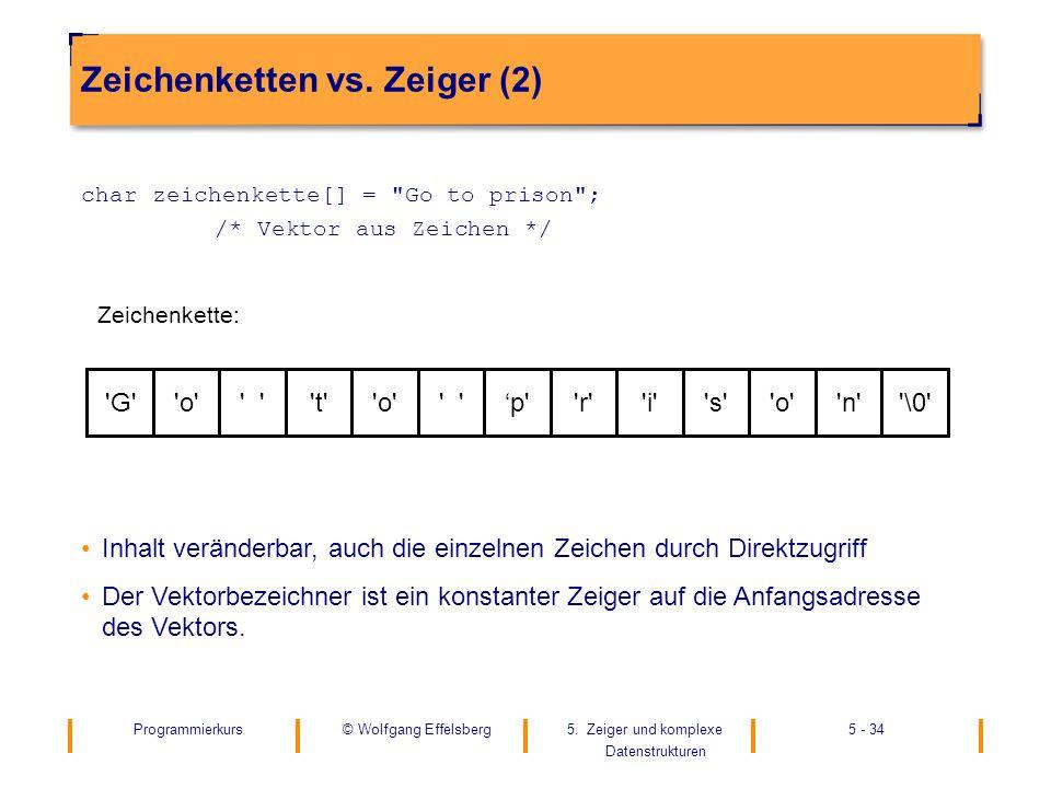 Programmierkurs5. Zeiger und komplexe Datenstrukturen 5 - 34© Wolfgang Effelsberg Zeichenketten vs. Zeiger (2) char zeichenkette[] =