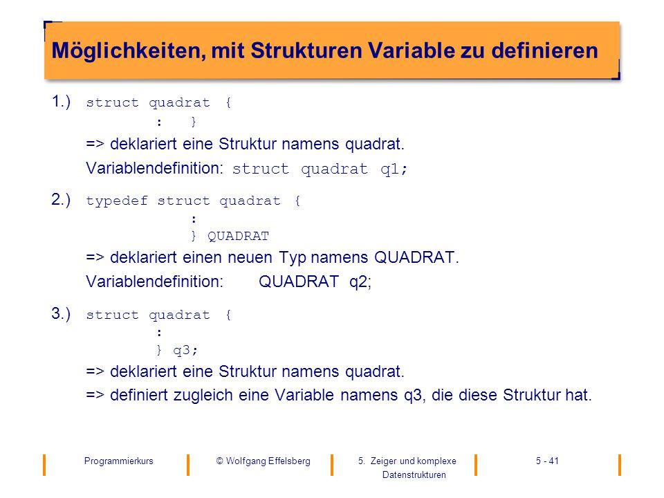 Programmierkurs5. Zeiger und komplexe Datenstrukturen 5 - 41© Wolfgang Effelsberg Möglichkeiten, mit Strukturen Variable zu definieren 1.) struct quad