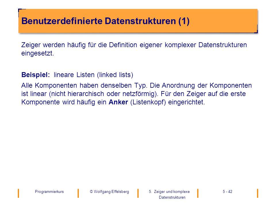 Programmierkurs5. Zeiger und komplexe Datenstrukturen 5 - 42© Wolfgang Effelsberg Benutzerdefinierte Datenstrukturen (1) Zeiger werden häufig für die