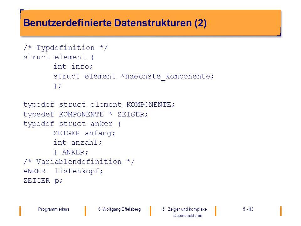 Programmierkurs5. Zeiger und komplexe Datenstrukturen 5 - 43© Wolfgang Effelsberg Benutzerdefinierte Datenstrukturen (2) /* Typdefinition */ struct el