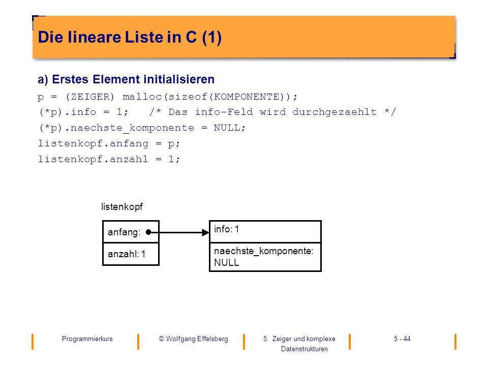 Programmierkurs5. Zeiger und komplexe Datenstrukturen 5 - 44© Wolfgang Effelsberg Die lineare Liste in C (1) a) Erstes Element initialisieren p = (ZEI