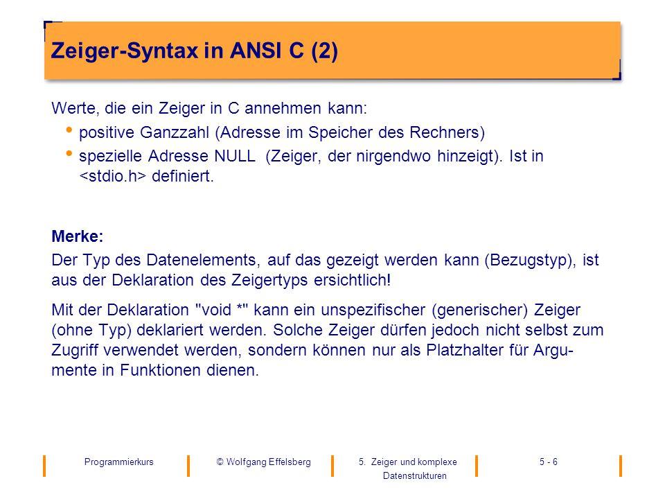 Programmierkurs5. Zeiger und komplexe Datenstrukturen 5 - 6© Wolfgang Effelsberg Zeiger-Syntax in ANSI C (2) Werte, die ein Zeiger in C annehmen kann: