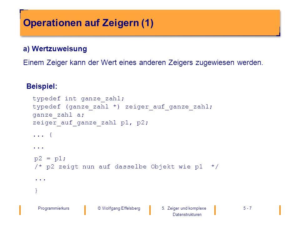 Programmierkurs5. Zeiger und komplexe Datenstrukturen 5 - 7© Wolfgang Effelsberg Operationen auf Zeigern (1) a) Wertzuweisung Einem Zeiger kann der We