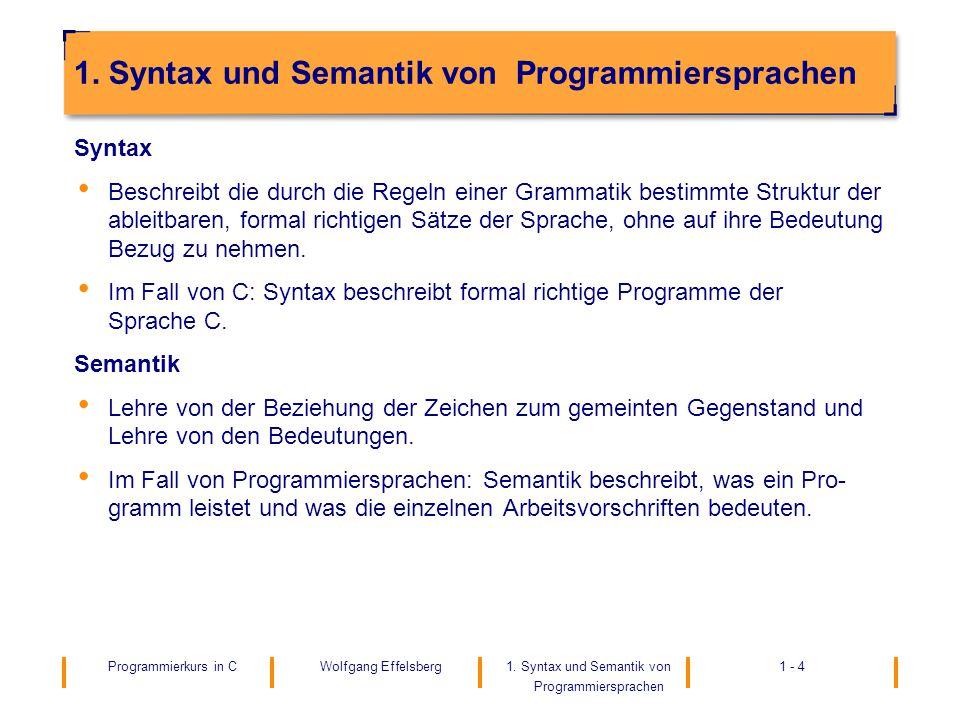 Programmierkurs in C1.Syntax und Semantik von Programmiersprachen 1 - 4Wolfgang Effelsberg 1.