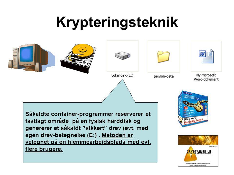 """Såkaldte container-programmer reserverer et fastlagt område på en fysisk harddisk og genererer et såkaldt """"sikkert"""" drev (evt. med egen drev-betegnels"""