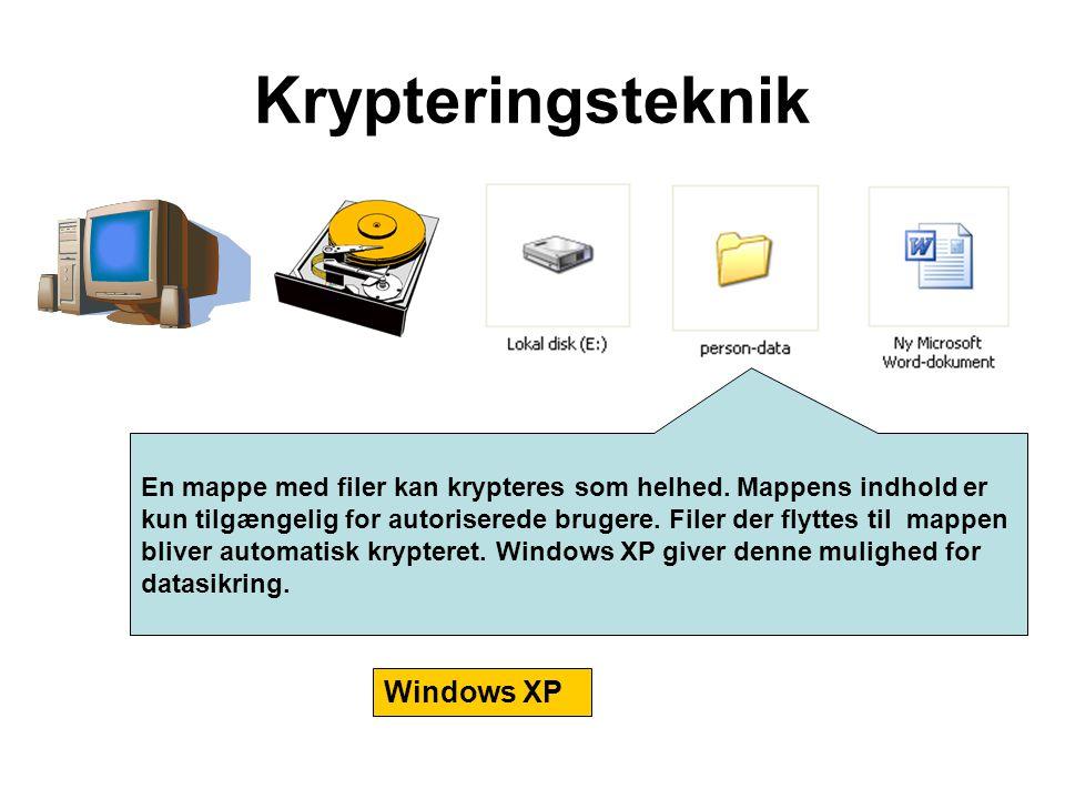 En mappe med filer kan krypteres som helhed. Mappens indhold er kun tilgængelig for autoriserede brugere. Filer der flyttes til mappen bliver automati