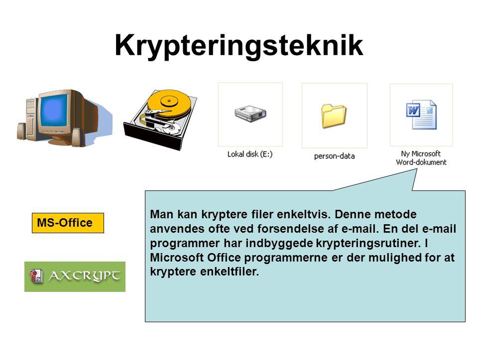 Man kan kryptere filer enkeltvis. Denne metode anvendes ofte ved forsendelse af e-mail. En del e-mail programmer har indbyggede krypteringsrutiner. I