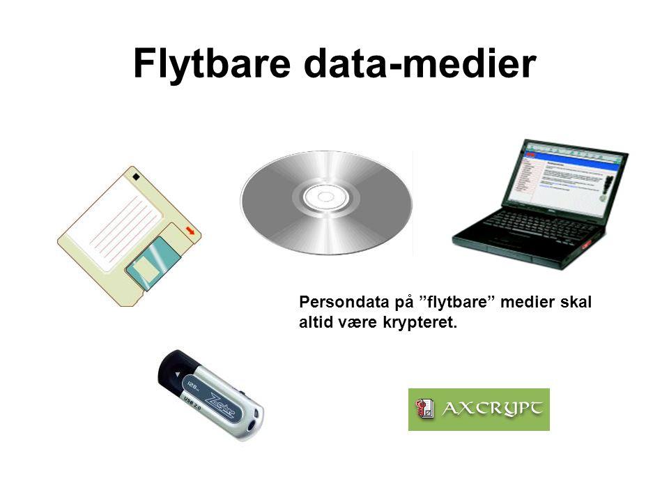 """Flytbare data-medier Persondata på """"flytbare"""" medier skal altid være krypteret."""