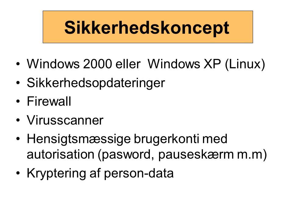 Sikkerhedskoncept Windows 2000 eller Windows XP (Linux) Sikkerhedsopdateringer Firewall Virusscanner Hensigtsmæssige brugerkonti med autorisation (pas