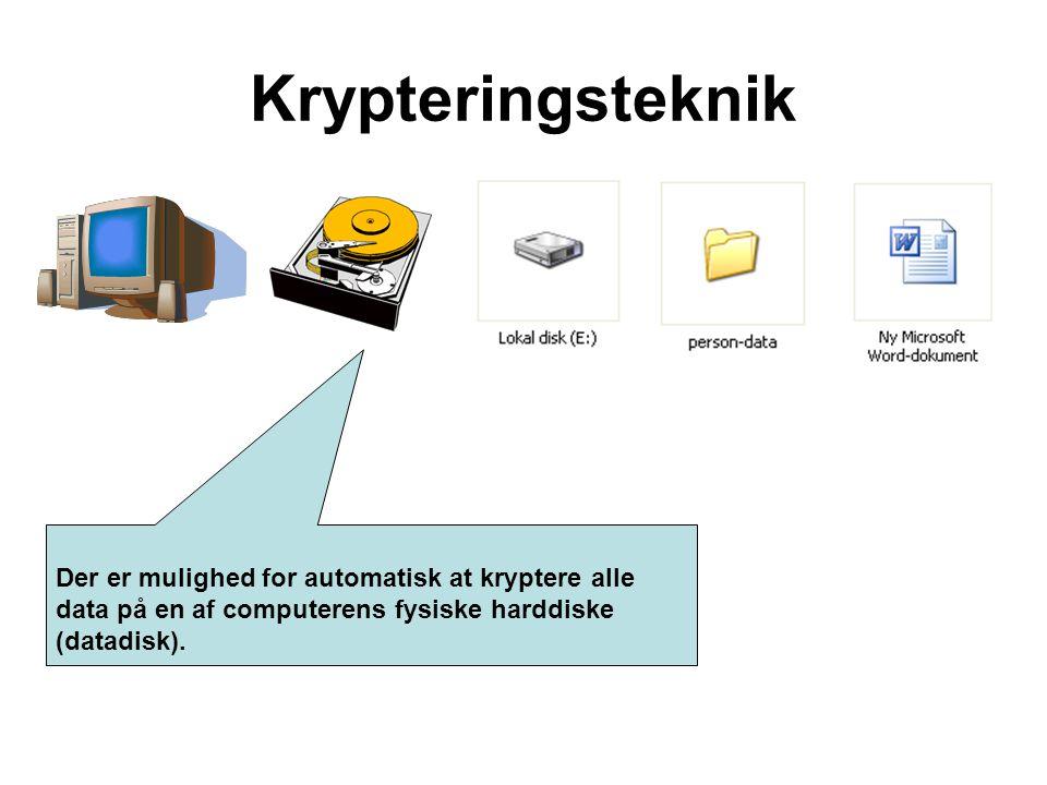 Der er mulighed for automatisk at kryptere alle data på en af computerens fysiske harddiske (datadisk). Krypteringsteknik