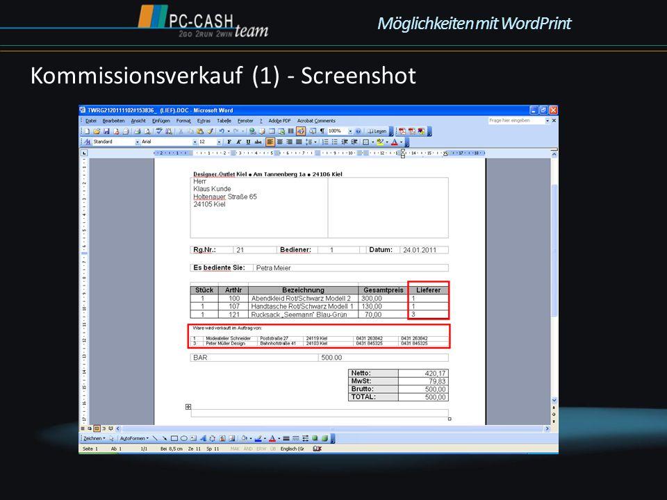 Kommissionsverkauf (1) - Screenshot Möglichkeiten mit WordPrint