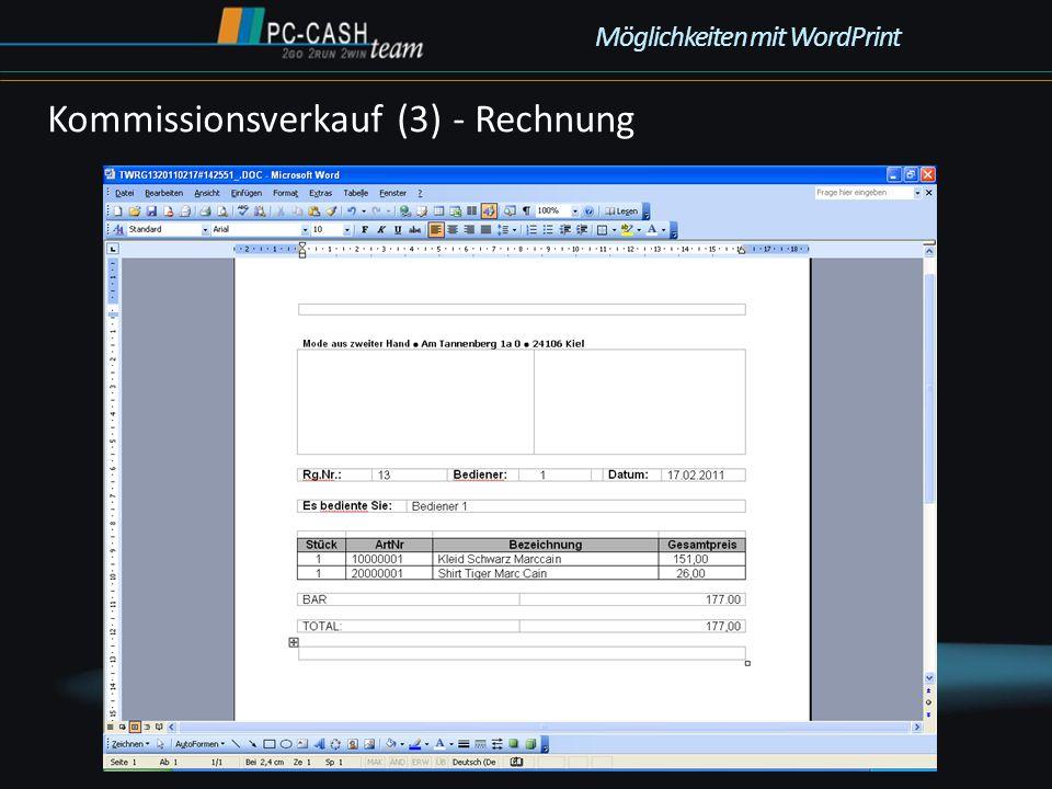 Kommissionsverkauf (3) - Rechnung Möglichkeiten mit WordPrint