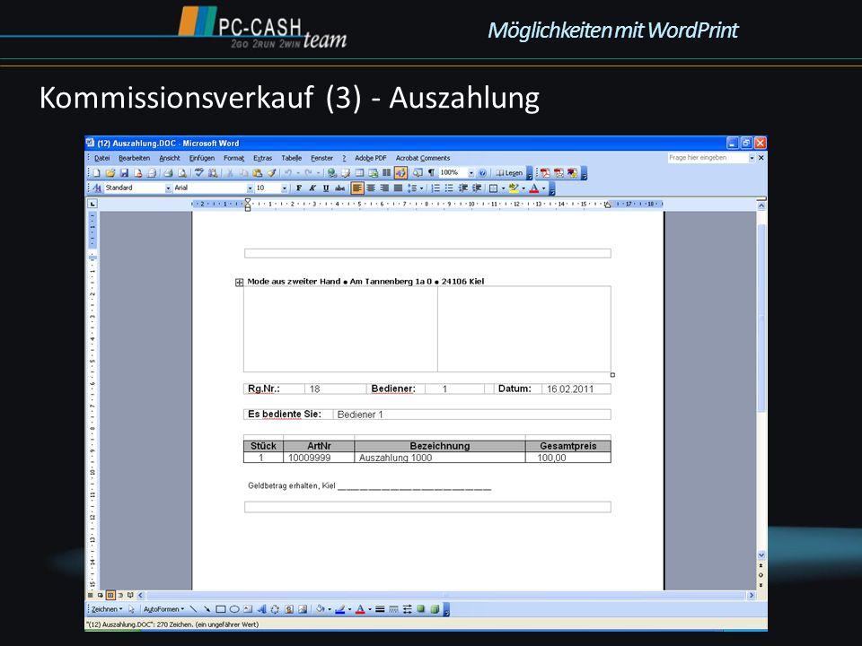 Kommissionsverkauf (3) - Auszahlung Möglichkeiten mit WordPrint