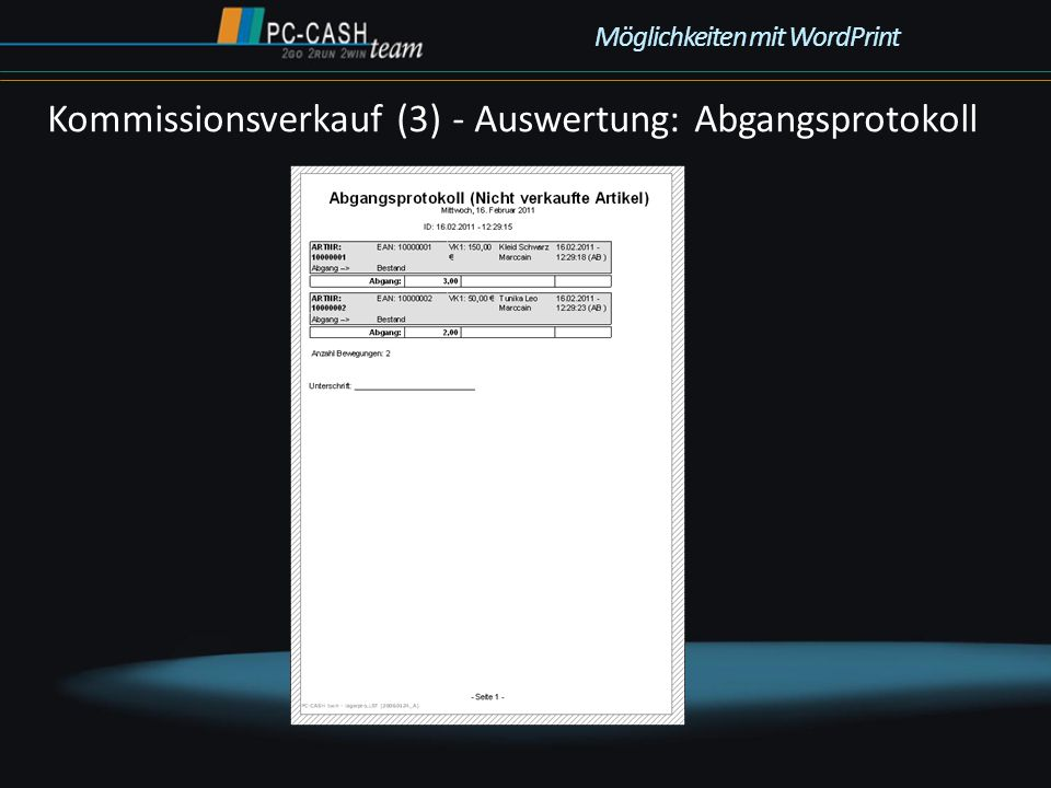 Kommissionsverkauf (3) - Auswertung: Abgangsprotokoll Möglichkeiten mit WordPrint