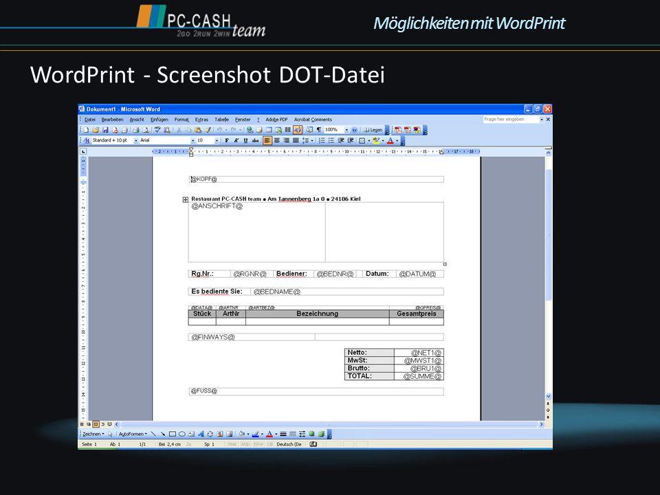 WordPrint - Screenshot DOT-Datei Möglichkeiten mit WordPrint