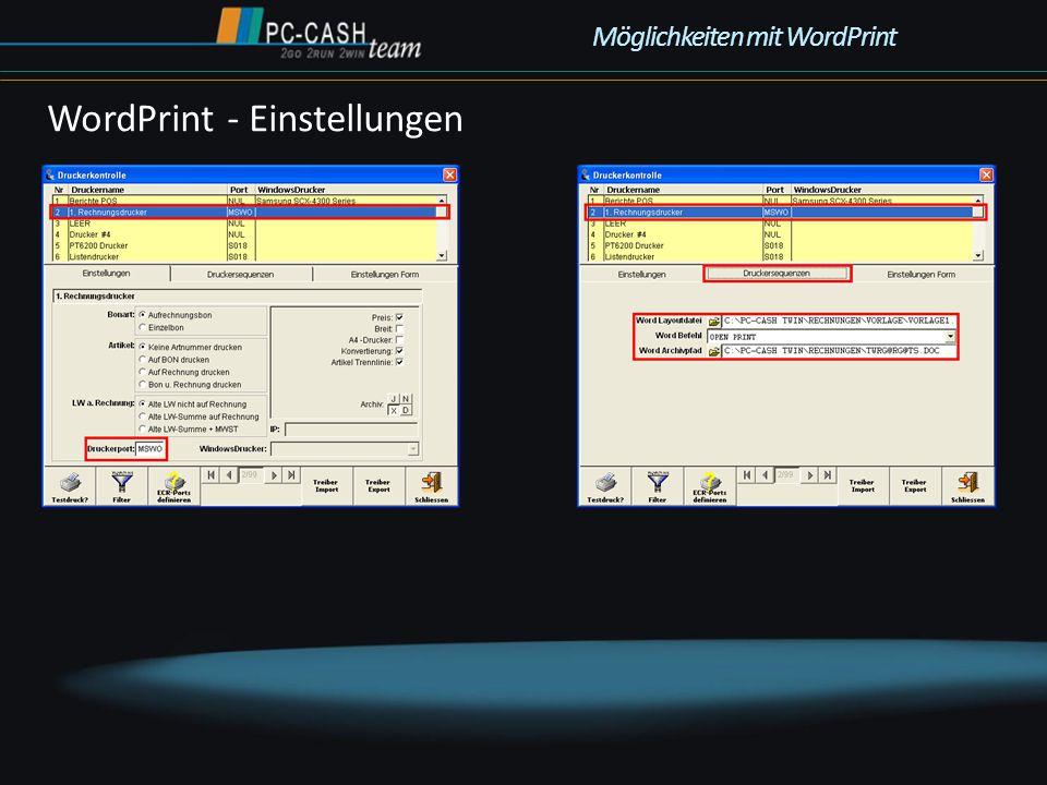 WordPrint - Einstellungen Möglichkeiten mit WordPrint