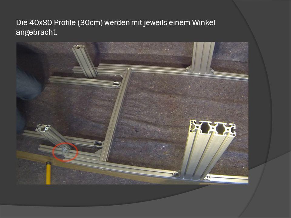 Die 50cm Profile mit dem Innen-Gewinde, mithilfe einer Schraube am Winkel anbringen.