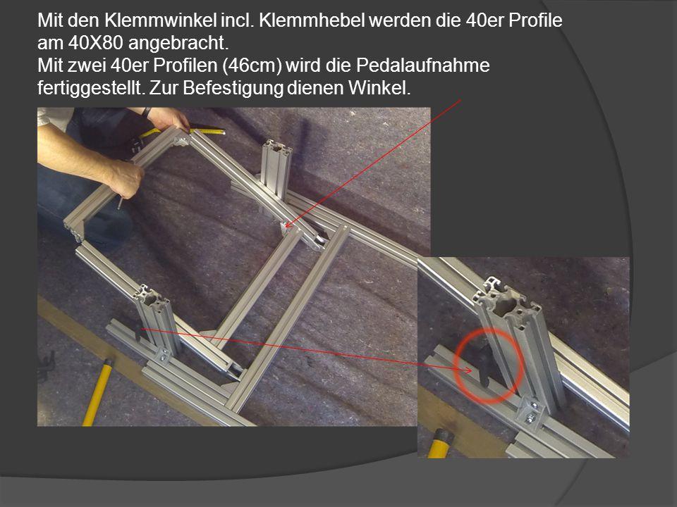 Die 40x80 Profile (30cm) werden mit jeweils einem Winkel angebracht.