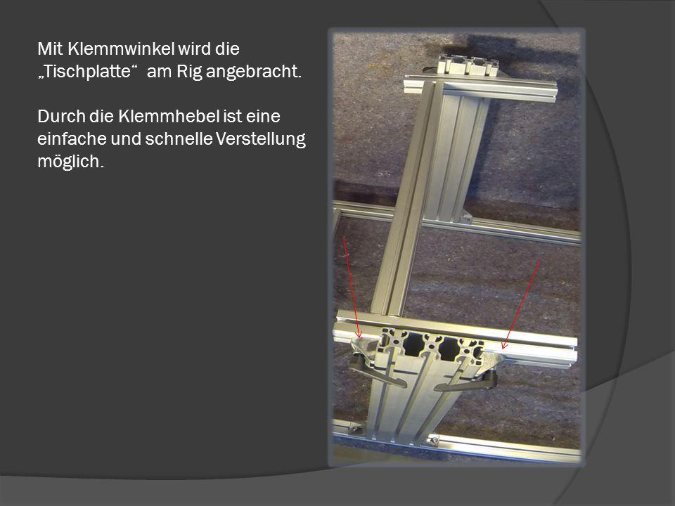 """Die """"Tischplatte"""" wird mit dem Verbleibenden 70cm und 2x40cm Profil erstellt. Mit Automatikverbinder werden diese verbunden."""
