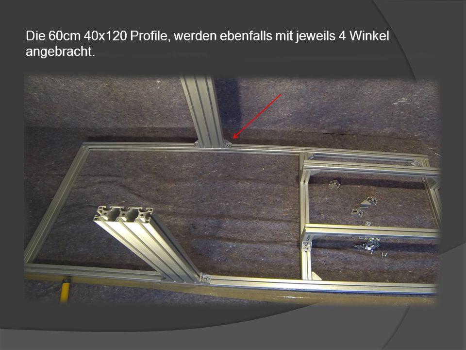 Weitere 4 Winkel werden an die 10cm Profile montiert, um daran die 65cm Profile zu befestigen. Damit ist die Sitz Befestigung fertiggestellt.