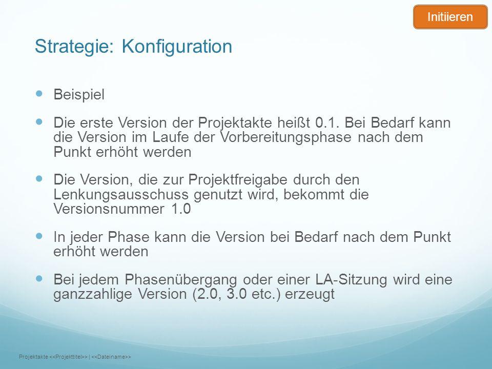 Strategie: Konfiguration Beispiel Die erste Version der Projektakte heißt 0.1. Bei Bedarf kann die Version im Laufe der Vorbereitungsphase nach dem Pu