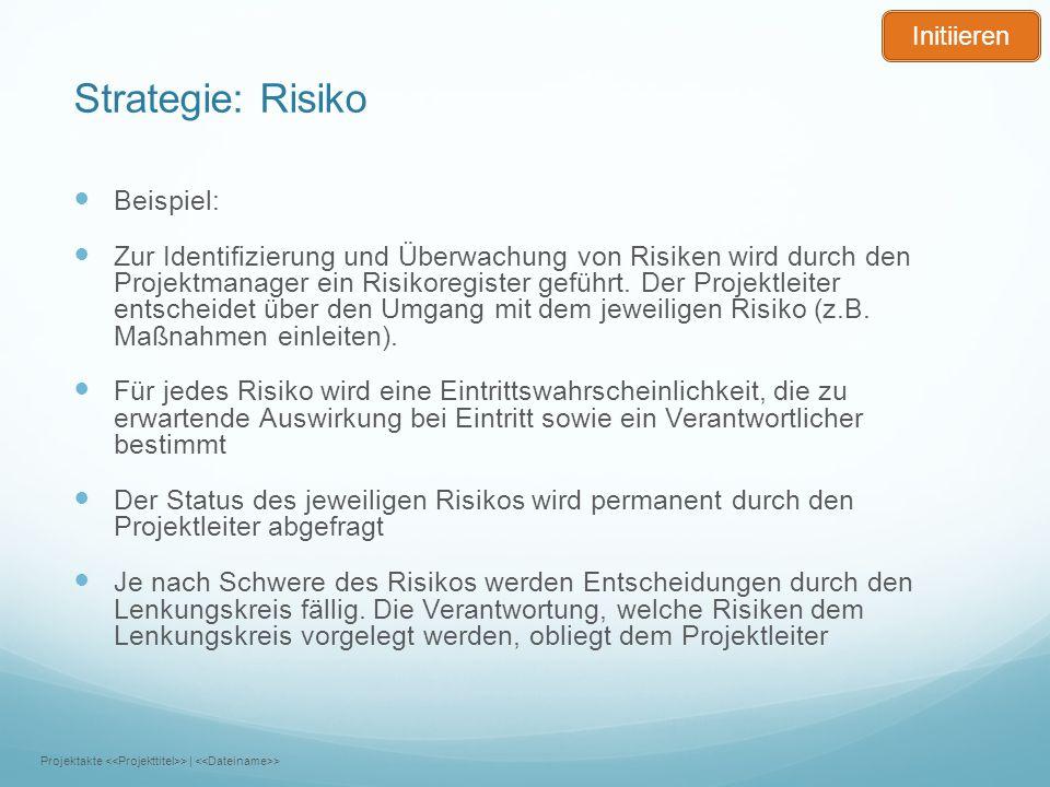Strategie: Risiko Beispiel: Zur Identifizierung und Überwachung von Risiken wird durch den Projektmanager ein Risikoregister geführt. Der Projektleite