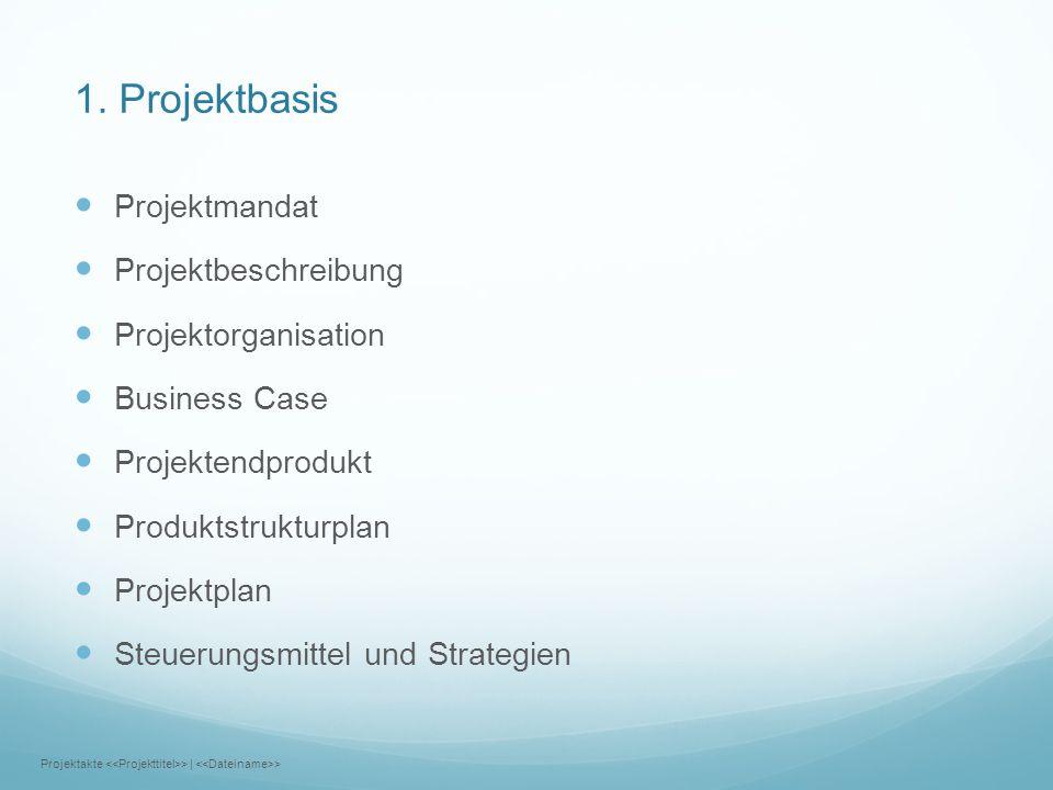 1. Projektbasis Projektmandat Projektbeschreibung Projektorganisation Business Case Projektendprodukt Produktstrukturplan Projektplan Steuerungsmittel