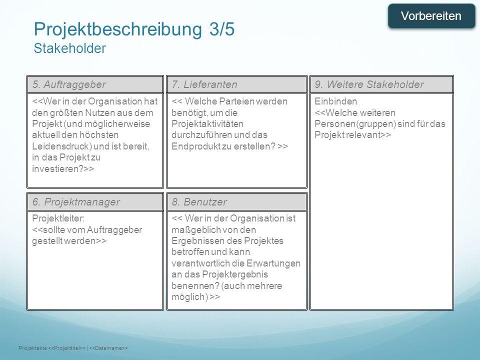 7. Lieferanten9. Weitere Stakeholder > Einbinden > 6. Projektmanager8. Benutzer Projektleiter: > > 5. Auftraggeber Projektbeschreibung 3/5 Stakeholder