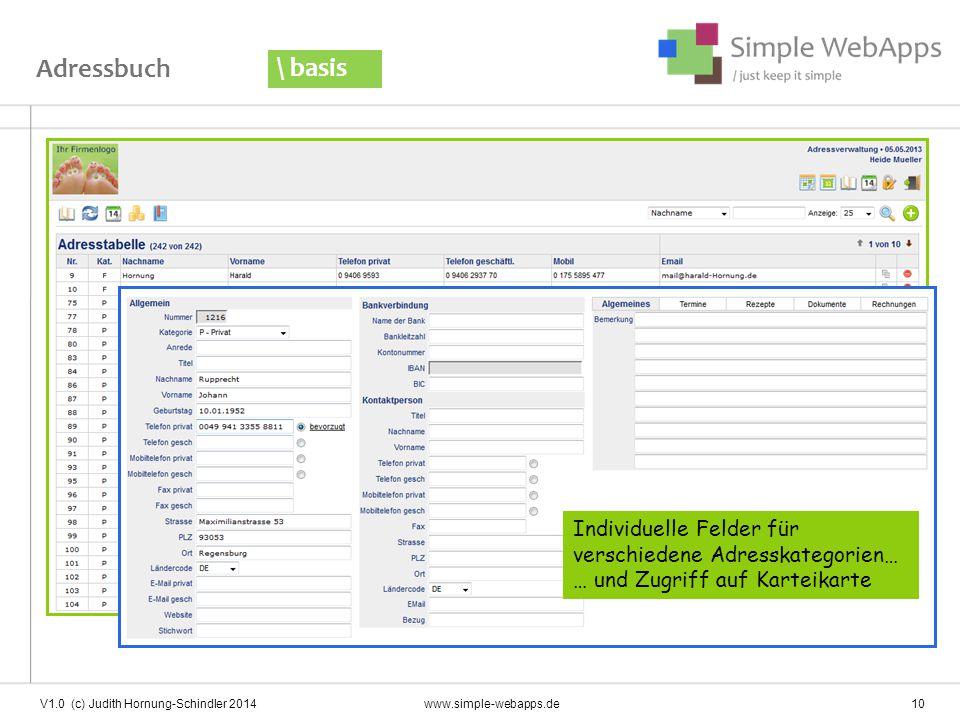 Adressbuch \ basis V1.0 (c) Judith Hornung-Schindler 2014www.simple-webapps.de 10 Individuelle Felder für verschiedene Adresskategorien… … und Zugriff auf Karteikarte