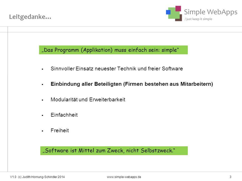 Simple Webapps Einsatzplanung Zeiterfassung (+/- Terminal, Datev-Schnittstelle) Arbeitspläne Controlling Adressbuch Skill Management \ basis V1.0 (c) Judith Hornung-Schindler 2014www.simple-webapps.de 4