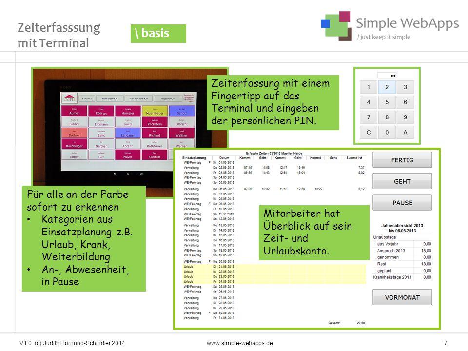 V1.0 (c) Judith Hornung-Schindler 2014 www.simple-webapps.de 8 Monatsbeleg \ basis Monatsbeleg kann dem Mitarbeiter ausgehändigt werden Datev-Schnittstelle zur Gehaltsabrechnung / Buchhaltungssoftware verfügbar