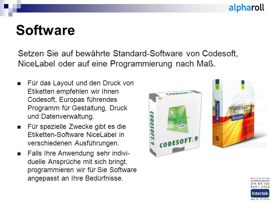 Software Für das Layout und den Druck von Etiketten empfehlen wir Ihnen Codesoft, Europas führendes Programm für Gestaltung, Druck und Datenverwaltung
