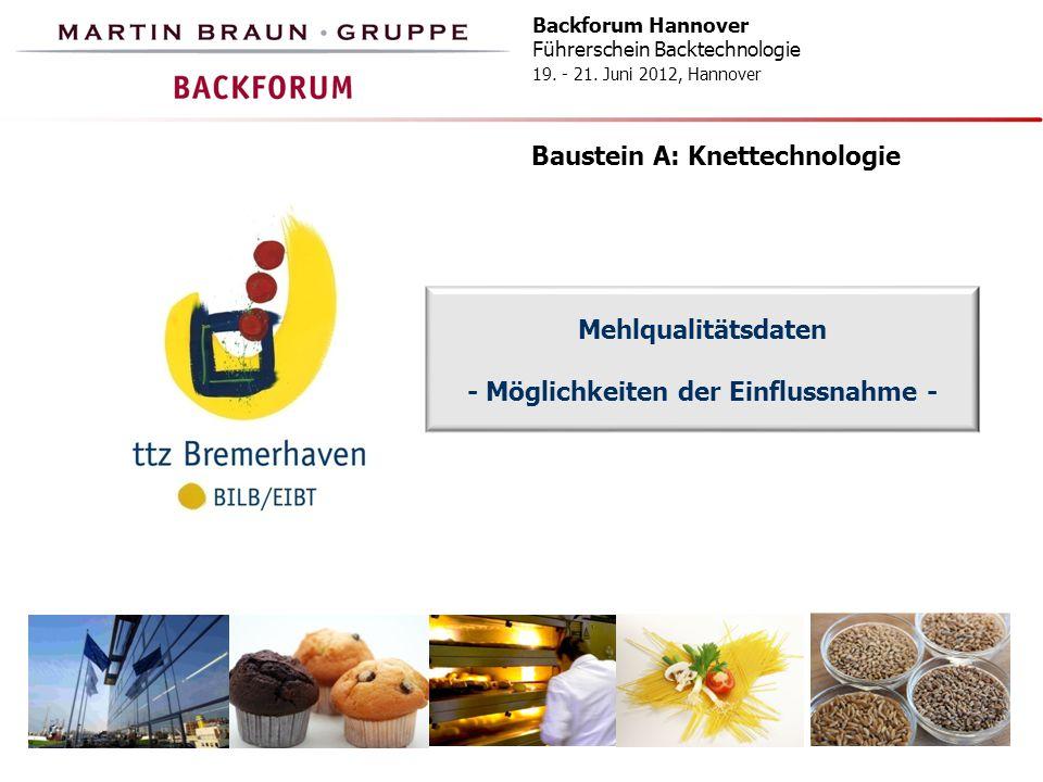 Backforum Hannover Führerschein Backtechnologie 19. - 21. Juni 2012, Hannover Baustein A: Knettechnologie Mehlqualitätsdaten - Möglichkeiten der Einfl
