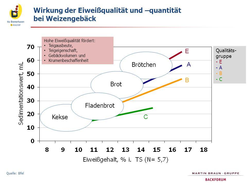 Hohe Eiweißqualität fördert: Teigausbeute, Teigeigenschaft, Gebäckvolumen und Krumenbeschaffenheit Qualitäts- gruppe - E - A - B - C Brötchen Fladenbr