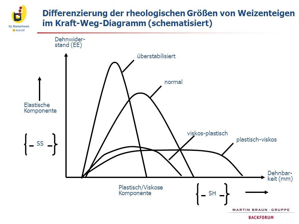 Dehnwider- stand (EE) Dehnbar- keit (mm) Plastisch/Viskose Komponente SH Elastische Komponente SS überstabilisiert normal plastisch-viskos viskos-plastisch Differenzierung der rheologischen Größen von Weizenteigen im Kraft-Weg-Diagramm (schematisiert)