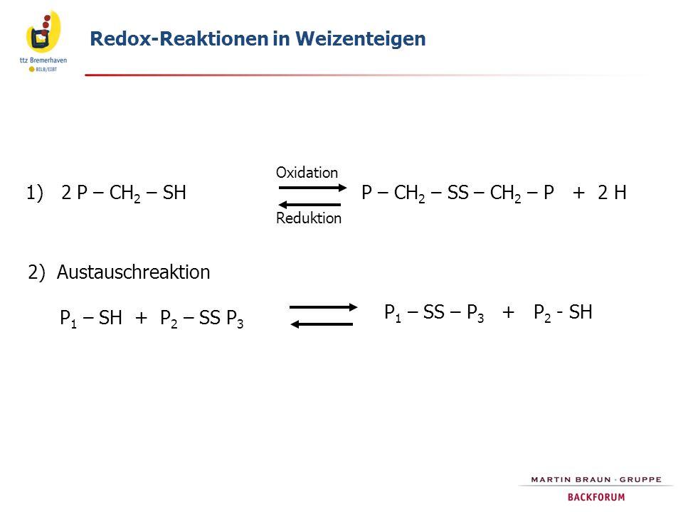 Redox-Reaktionen in Weizenteigen 2) Austauschreaktion 1) 2 P – CH 2 – SHP – CH 2 – SS – CH 2 – P + 2 H P 1 – SH + P 2 – SS P 3 P 1 – SS – P 3 + P 2 - SH Oxidation Reduktion