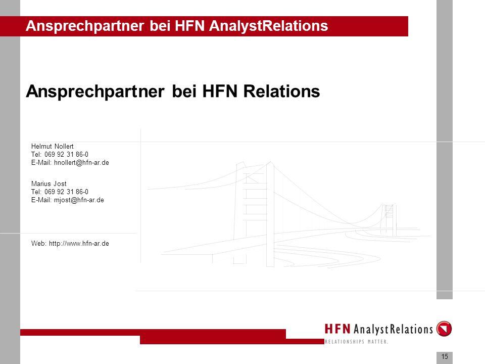 15 Ansprechpartner bei HFN AnalystRelations Ansprechpartner bei HFN Relations Marius Jost Tel: 069 92 31 86-0 E-Mail: mjost@hfn-ar.de Helmut Nollert Tel: 069 92 31 86-0 E-Mail: hnollert@hfn-ar.de Web: http://www.hfn-ar.de