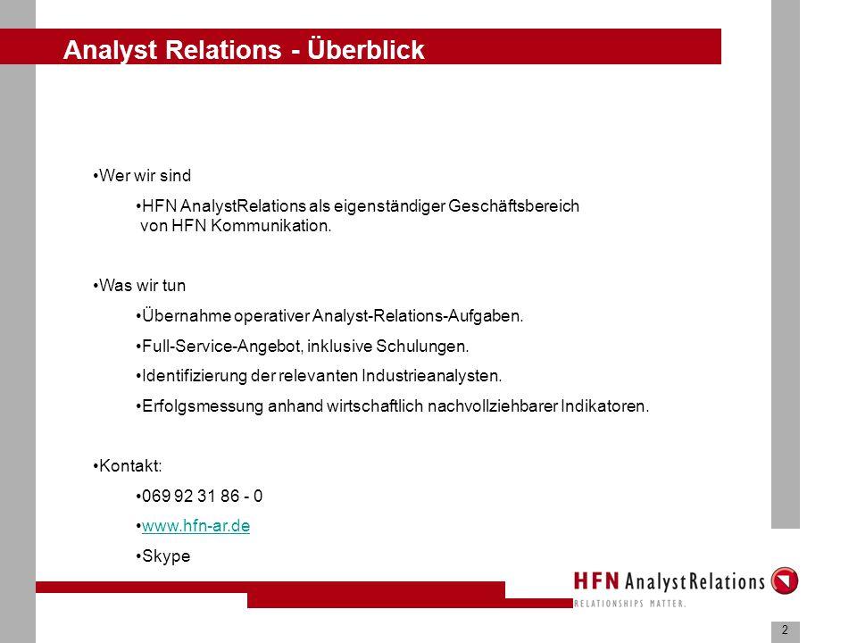 2 Analyst Relations - Überblick Wer wir sind HFN AnalystRelations als eigenständiger Geschäftsbereich von HFN Kommunikation.